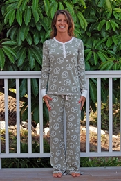 PJ Salvage Daisy Peace Thermal Pajama Set