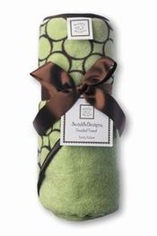 Swaddle Hooded Towel, Lime with Brown Mod Circles