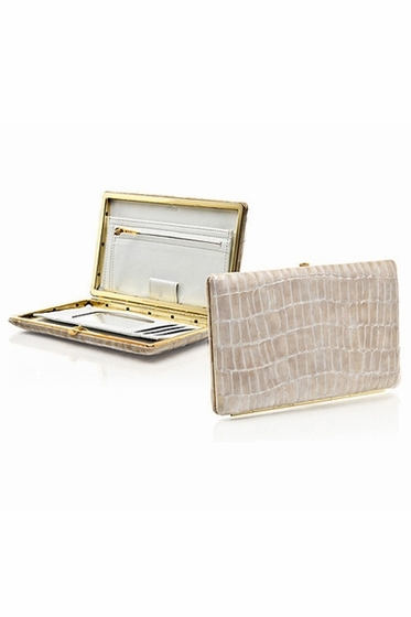 Abas White Newbury Croco Full Frame Clutch