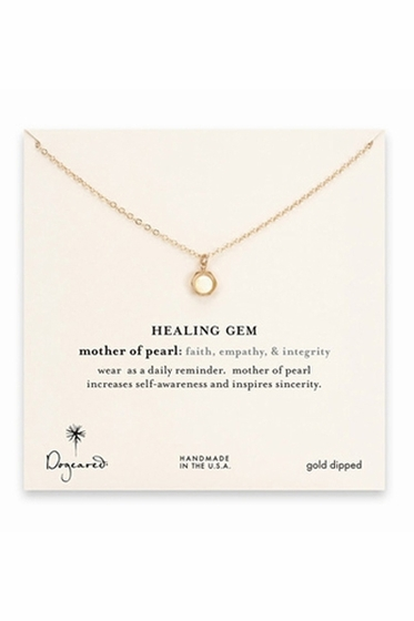 Dogeared Jewelry Hexagon Mother of Pearl Gold Necklace