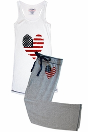 PJ Salvage Stars & Stripes Tank and Pant Pajama Set