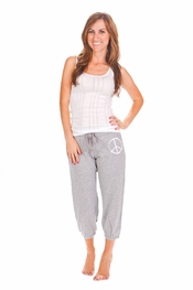PJ Salvage White Tank and Peace Grey Lounge Crop Pant