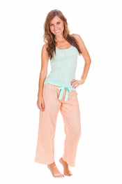 PJ Salvage Power Pastels Mint Tank and Peach Crop Pant Pajama Set