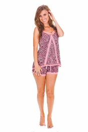 PJ Salvage Rose Leopard Cami and Short Pajama Set