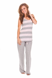 PJ Salvage Pink and Grey Striped Tank and Heart Pant Pajama Set