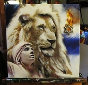 The Bride and the White Lion!  16 X 20 CANVAS PAINTING