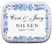 Wedding Favors - Blue Floral Border Mint Tins