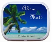Wedding Favors - Beach Theme Wedding Mint Tins Palm Tree and Ocean
