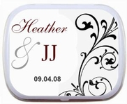Black & White Wedding Mint Tin Right Scroll