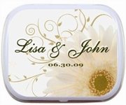 Wedding Favors - White Daisy Scroll Mint Tins