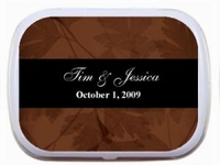WED-066   Fall Theme Wedding Mint Tin Favors - Chocolate Brown and Black Leaves