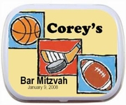 Sports Theme Bar Mitzvah Personalized Mint Tins Party Favors