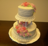Tiered Pink Fondant Gumpaste Rose Wedding Cake