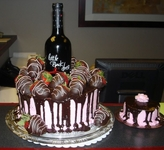 Real Wine Bottle with Chocolate Ganache Icing and Mini Cake