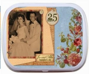 ANN_027    25th Wedding Anniversary Mint Tins Photo Rose Border