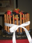 Chocolate Raspberry Blackberry Strawberry Cake with Wafers