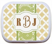 Monogram Personalized Mint Tins - Beige and Green Lattice