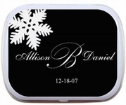 Winter Theme White Snowflake Wedding Favor Mint Tins