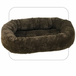 Bowsers Microvelvet Donut Dog Bed-Chocolate Bones