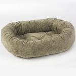 Bowsers Microvelvet Donut Dog Bed-Paisley Taupe