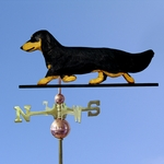Dachshund (long hair) Weathervane-Black & Tan