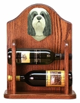 Bearded Collie Wine Rack -Blue/White