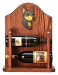 Doberman Wine Rack -Red/Tan