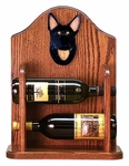 German Shepherd Wine Rack-Black w/ Tan Points