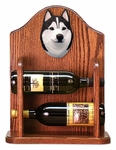 Siberian Husky Wine Rack-Black/White