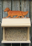 Dachshund (long hair) Bird Feeder-Red
