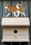 Siberian Husky Bird House-Red/White