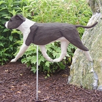 Am. Staffordshire Terrier (natural) Garden Stake-Blue-White