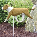 Am. Staffordshire Terrier (natural) Garden Stake-Fawn-White