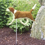Beagle Garden Stake-Red-White