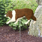 Border Collie Garden Stake-Red