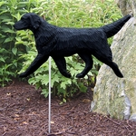 Flat Coated Retriever Garden Stake-Black