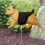 Norwich Terrier Garden Stake-Black & Tan