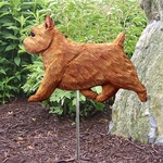 Norwich Terrier Garden Stake-Red