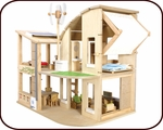 Green Dollhouse with Furniture (3 years+)