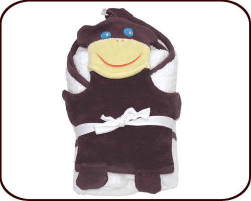Organic Hooded Towel + Monkey Wash Mitt Set