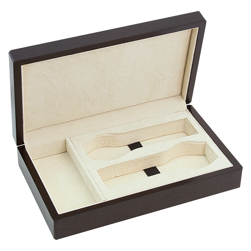 COMPACT WOOD WATCH CASE BOX HOLDS 2 WATCHES, ACCESSORIES AND SMALL JEWELRY