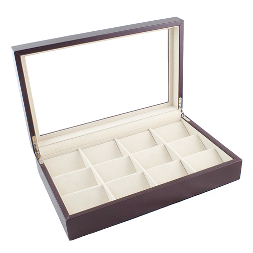 BROWN LEATHERETTE 12 POCKET WATCH CASE DISPLAY CASE BOX WITH GLASS CLEAR TOP