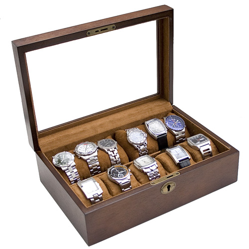 VINTAGE FINISH GLASS TOP WATCH CASE JEWELRY DISPLAY BOX WITH SOFT PILLOWS HOLDS 10+ WATCHES-IMPROVED WIDTH AND CLEARANCE FOR EXTRA LARGE WATCHES