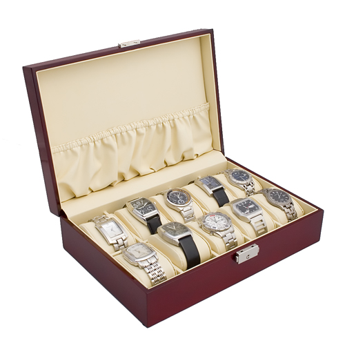 ROSEWOOD FINISH WATCH CASE JEWELRY DISPLAY BOX WITH SOLID TOP HOLDS 10 WATCHES
