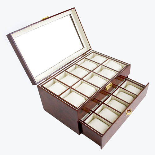 BURLWOOD FINISH WATCH CASE DUAL LEVEL GLASS CLEAR TOP DISPLAY STORAGE BOX HOLDS 20 WATCHES AND JEWELRY WITH REMOVABLE INNER DIVIDERS