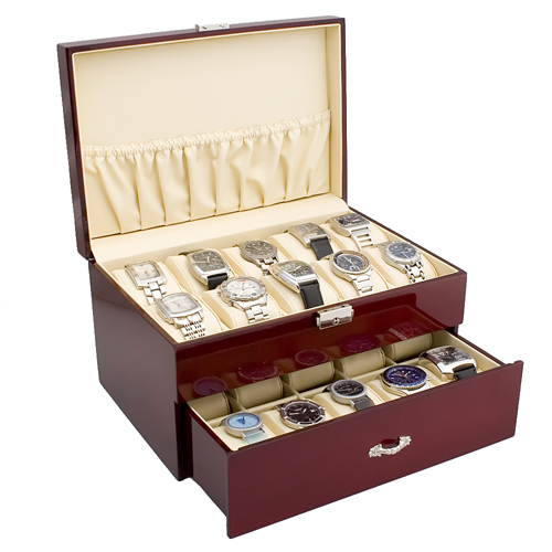 ROSEWOOD FINISH WATCH CASE JEWELRY DISPLAY BOX WITH SOLID TOP HOLDS 20 WATCHES