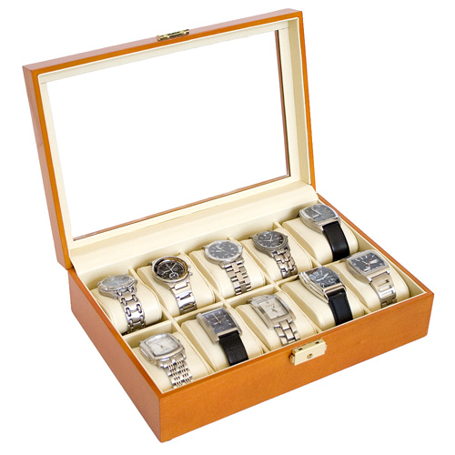 OAK WOOD FINISH WATCH CASE JEWELRY DISPLAY BOX WITH GLASS CLEAR TOP HOLDS 10 WATCHES