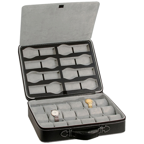 MODERN 26 WATCH CASE QUALITY LEATHERETTE BRIEFCASE STYLE CARRYING CASE WITH SOFT SQUEEZABLE PILLOWS