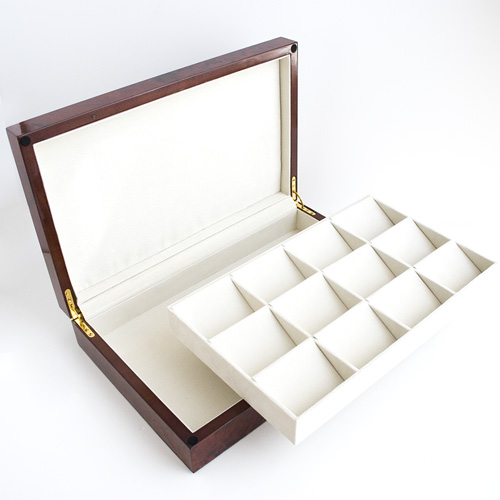 BURLWOOD FINISH 12 POCKET WATCH CASE DISPLAY CASE BOX WITH SOLID TOP AND REMOVABLE DIVIDER