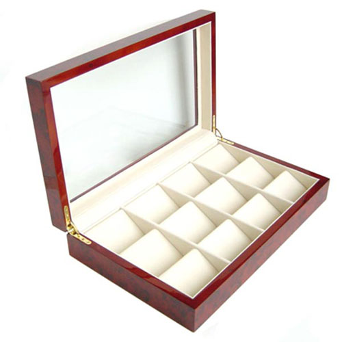 BURLWOOD FINISH 12 POCKET WATCH CASE DISPLAY CASE BOX WITH GLASS CLEAR TOP